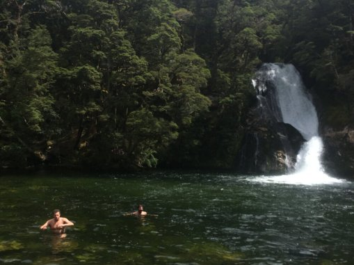 Swimming at Iris Burn Waterfall
