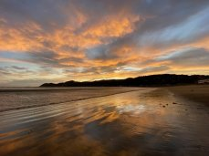 The sunset at Lyall Bay