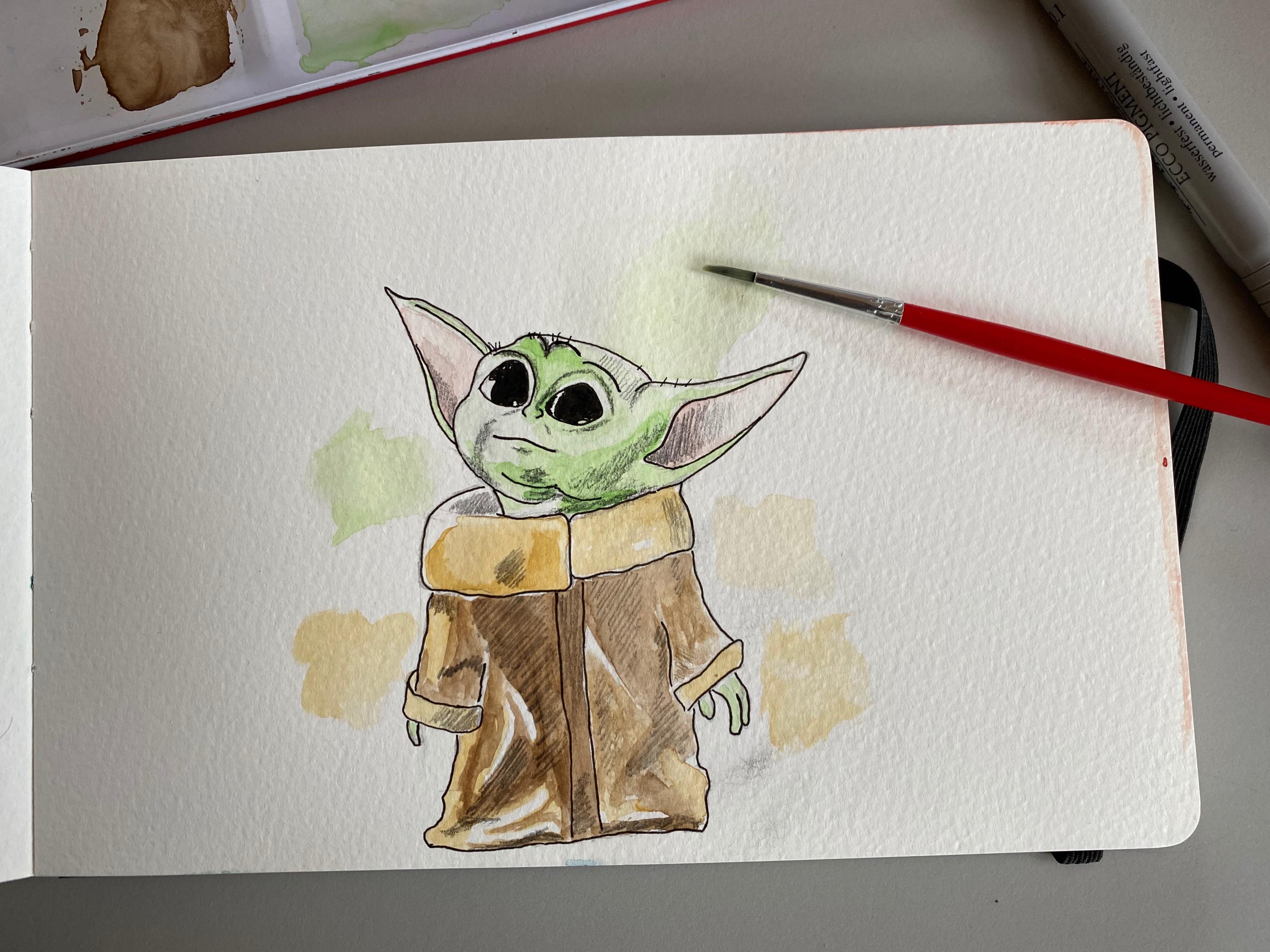 2 Baby Yoda Painting