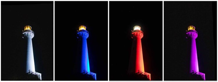 The lighthouse changes colour at night!