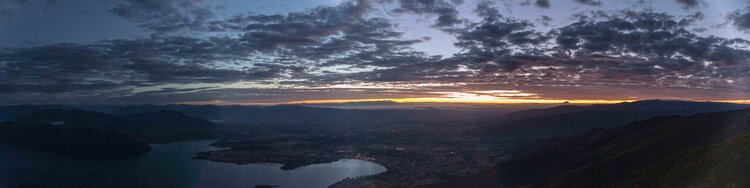 Looking over Wanaka at sunrise from Roys Peak