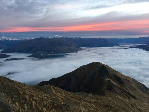 The second time I hiked Roys Peak at sunrise lake Wanaka was covered in clouds
