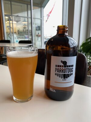 At the Parrotdog brewery for lunch.